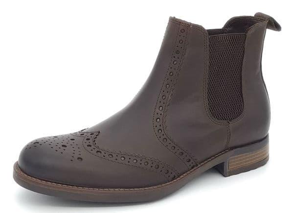 HX London - Albert Leather Brogue Chelsea Boots Brown